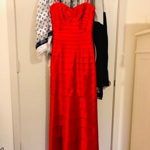 BCBG Long Satin Tiered Red Gown